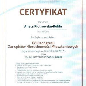 Certyfikat XVIII KONGRESU ZNM